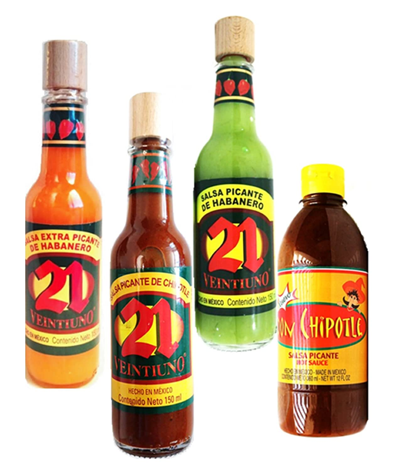 Amazon.com : Premium Salsas Picantes Mexicanas. Salsa 21 & Don Chipotle - Mexican Hot Sauce Variety Pack (Pack of 4) : Grocery & Gourmet Food