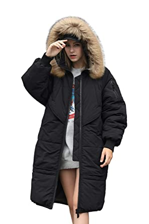 39f2813aa365 Winter Jacket Coat Women Puffer Anorak Long Coat Quilted Snow Warm Parka  Down Faux Hooded Top