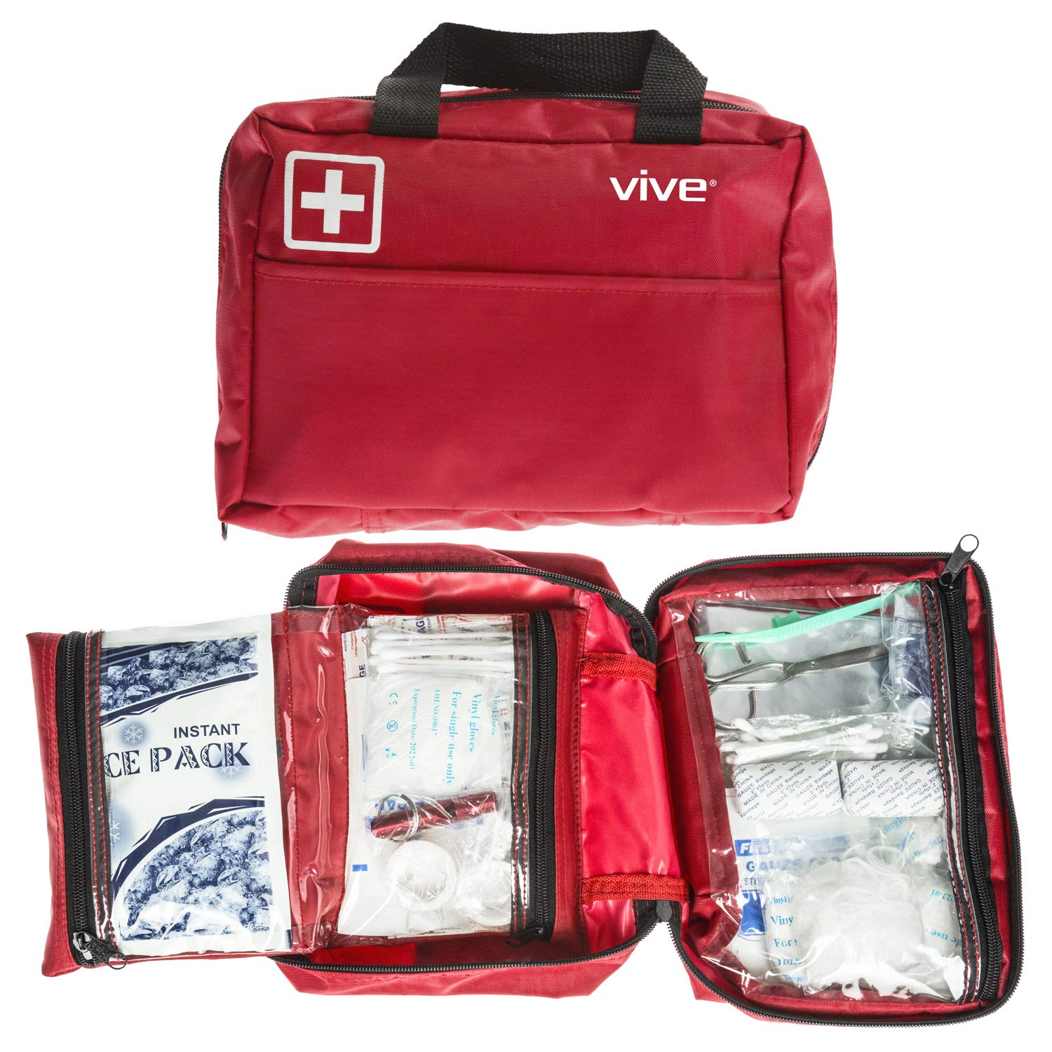 Vive First Aid Kit (300 Piece) - Survival Trauma Pack for Hurricanes, Earthquake, Car and Home - Small EDC Gear for Vehicle, Auto Car and Camping - Emergency Medical Supply Safety Bag with Gauze, Tape by Vive