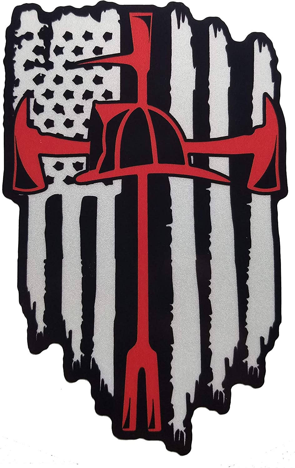 Amazon Com Reflective American Flag Thin Red Line Firefighter