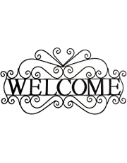 Besti Metal Welcome Sign (Large) Ornate, Bronze Plaque   Front Door, Porch, Patio, and Entryway Decor   Indoor and Outdoor Hanging Use   House and Home Decoration