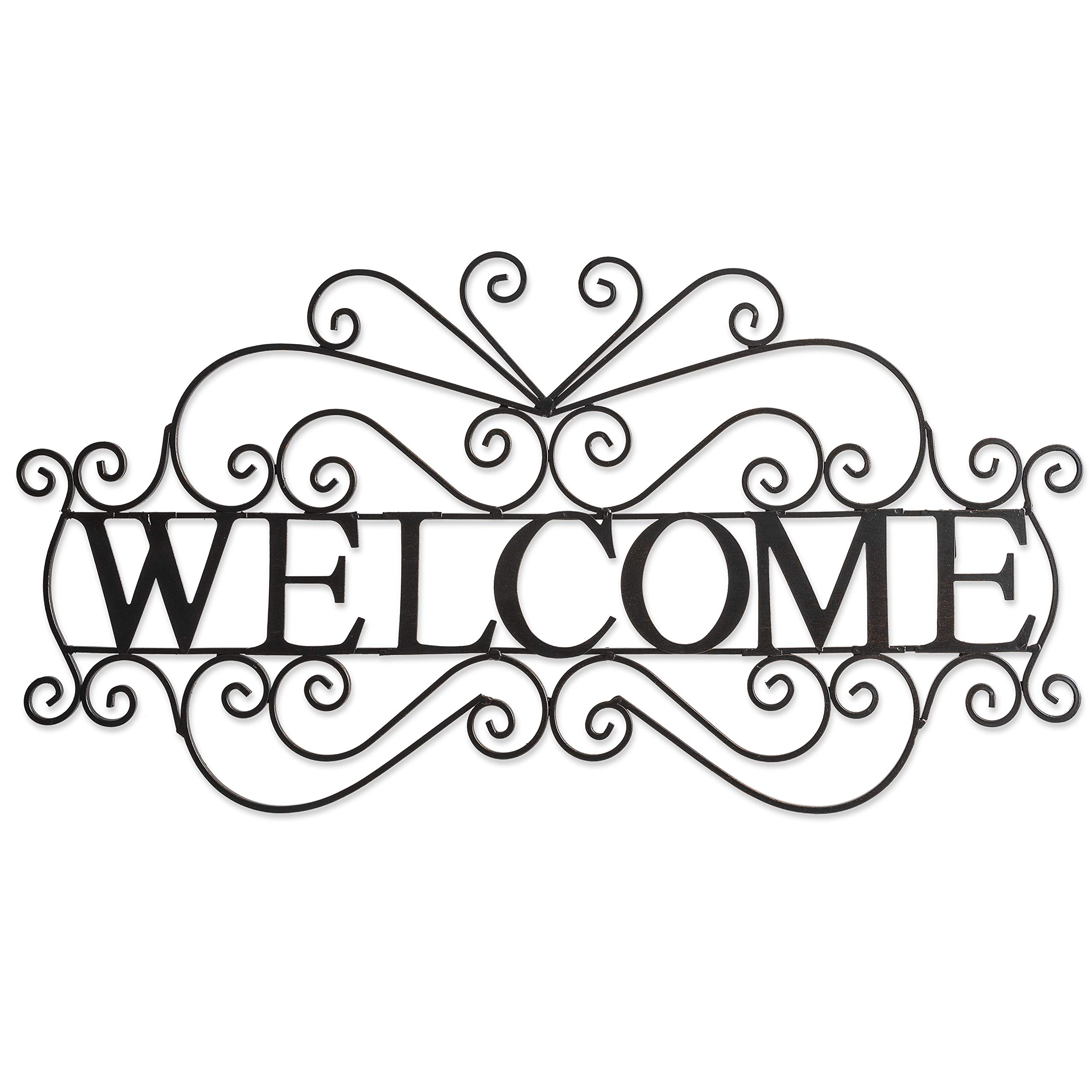Besti Metal Welcome Sign (Large) Ornate, Bronze Plaque | Front Door, Porch, Patio, and Entryway Decor | Indoor and Outdoor Hanging Use | House and Home Decoration