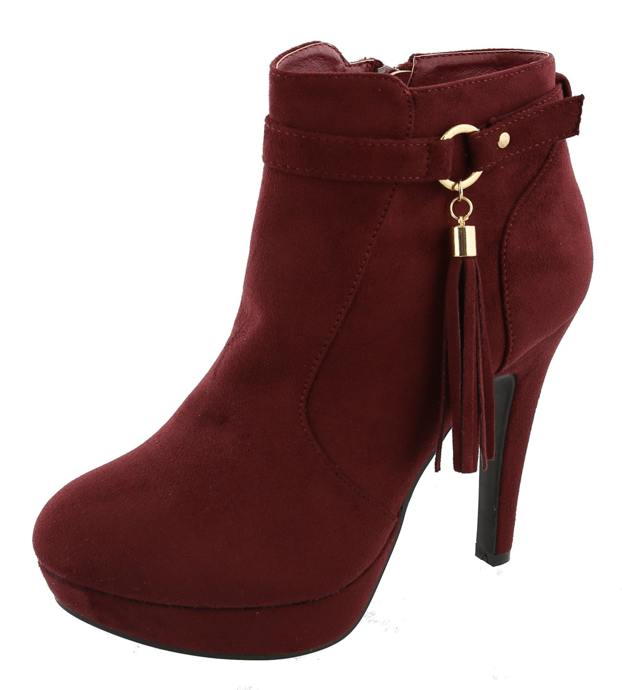 Top Moda Women's Closed Almond Toe Tassel Platform Stiletto Heel Ankle Bootie (8.5 B(M) US, Wine)