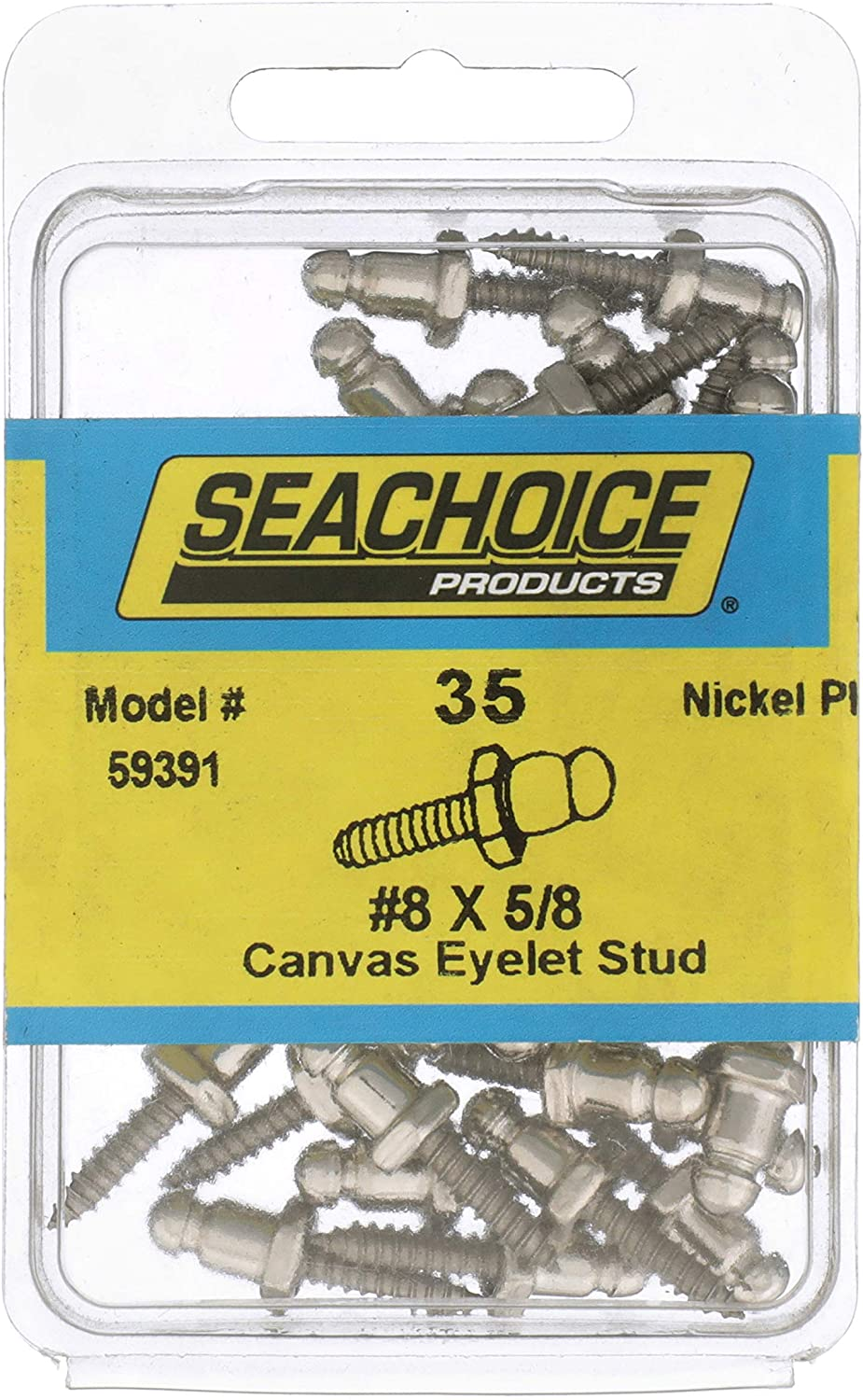 Bag of 35 Seachoice 59391 Eyelet Stud with 18-8 Stainless-Steel Screw #8 x 5//8 Inch