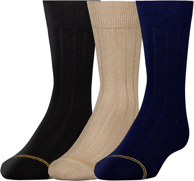 Gold Toe Boys Wide Rib Dress Crew Socks 3-Pair