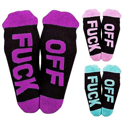 cc156a6a28ade Socks Printed FUCK OFF Cotton Ribbed Knit Half Crew Socks Ferbia Unisex  Embroidery Swear Word Curse