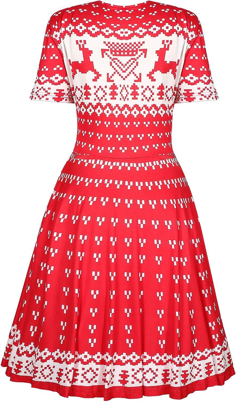 HUHOT Womens Ugly Christmas Printed Sleeveless Midi Flared Tank Party Dress