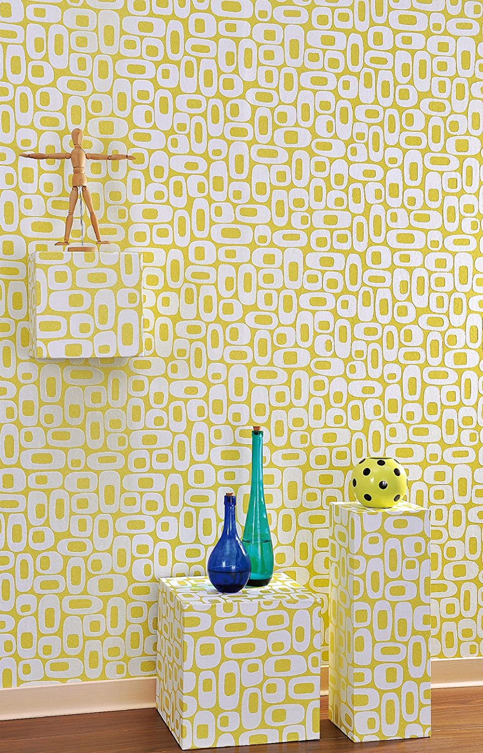 Os Ivory Mid Century Wallpaper for Walls - Double Roll - By Romosa ...