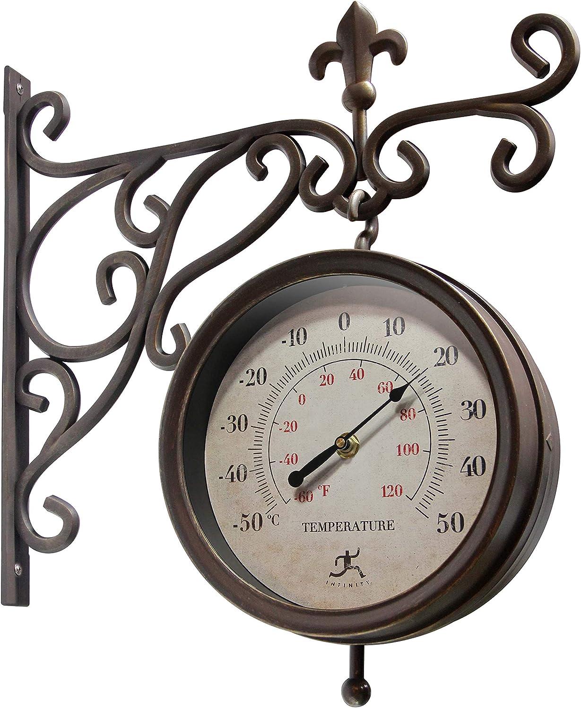 Beauregard 8 inch Double-Sided Clock Thermometer Indoor//Outdoor Clock Bracket