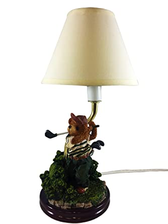 Bear golf desk lamp w shade hand painted small sculptured table bear golf desk lamp w shade hand painted small sculptured table night lamp aloadofball Gallery