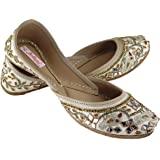 Fulkari Prime Spring Gold Handwork Embroidered Women's Soft Leather Bite and Pinch Free Punjabi Flat Ladies Jutti Ethnic Mojari Shoe