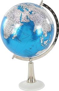 """Deco 79 94513 Marble and Plastic Decorative Globe, 20"""" x 13"""", Blue/Silver/White"""