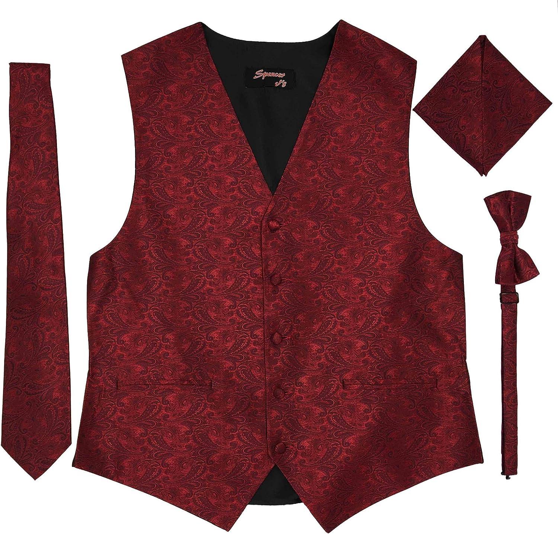 JAIFEI Premium Men/'s 4-Piece Paisley Vest for Sleek Looks On Formal Occasions