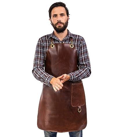 100/% leather grill apron Angus Stoke Premium Burger Unser leather apron vintage leather apron BBQ /& kitchen S-M