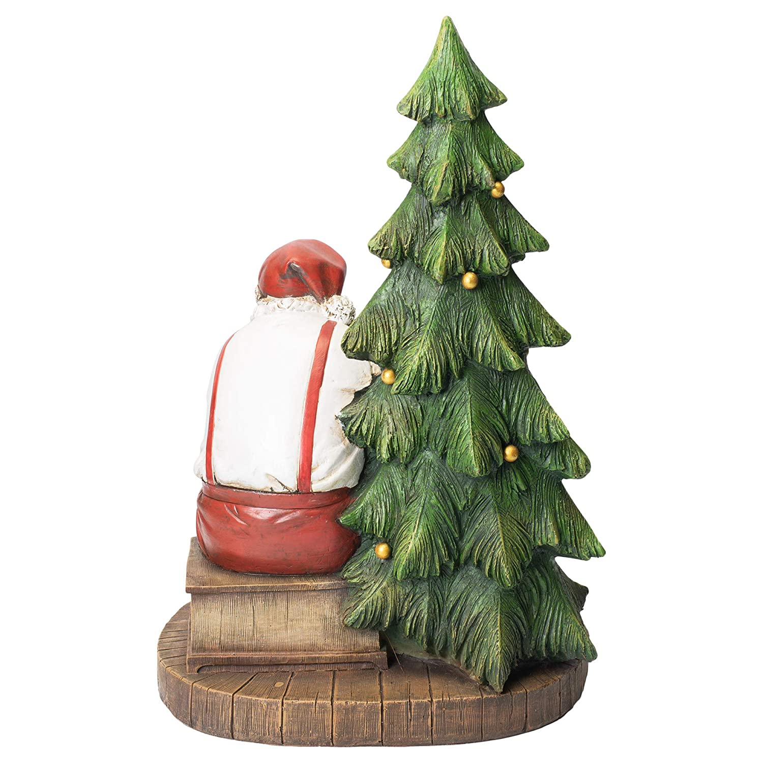 Napco Imports Santa and Child on Rocking Chair 10 x 16 Inch Resin Decorative Christmas Figurine