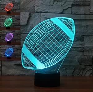 3D American Football Rugby Night Light Table Desk Optical Illusion Lamps 7 Color Changing Lights LED Table Lamp Xmas Home Love Brithday Children Kids Decor Toy Gift