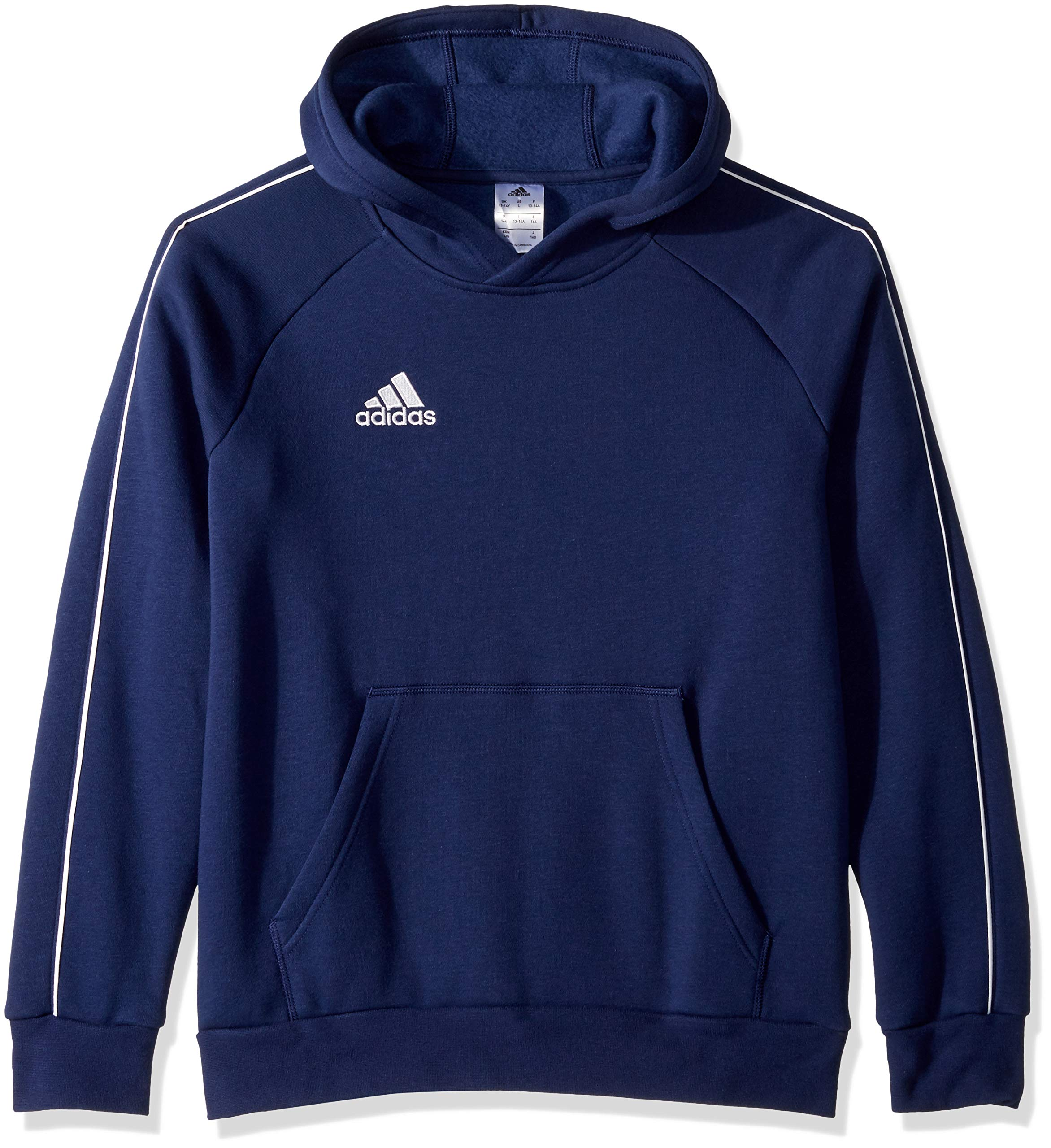 adidas Unisex Youth Soccer Core18 Hoody, Dark Blue/White, Medium