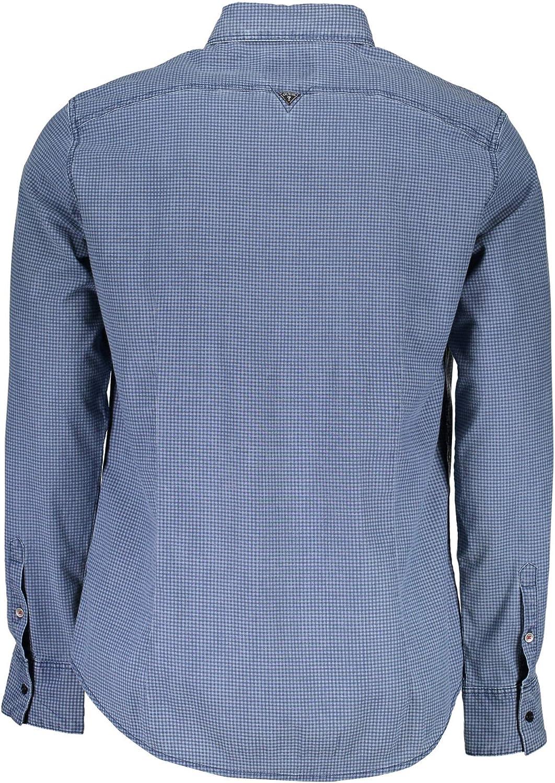Guess Camicia Manica Lunga Uomo Micro quadretto Blu