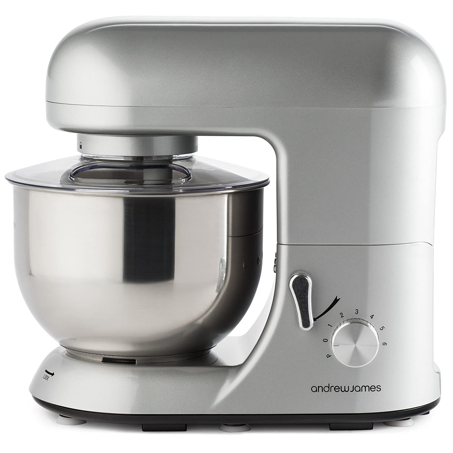 andrew james electric food stand mixer in stunning silver includes