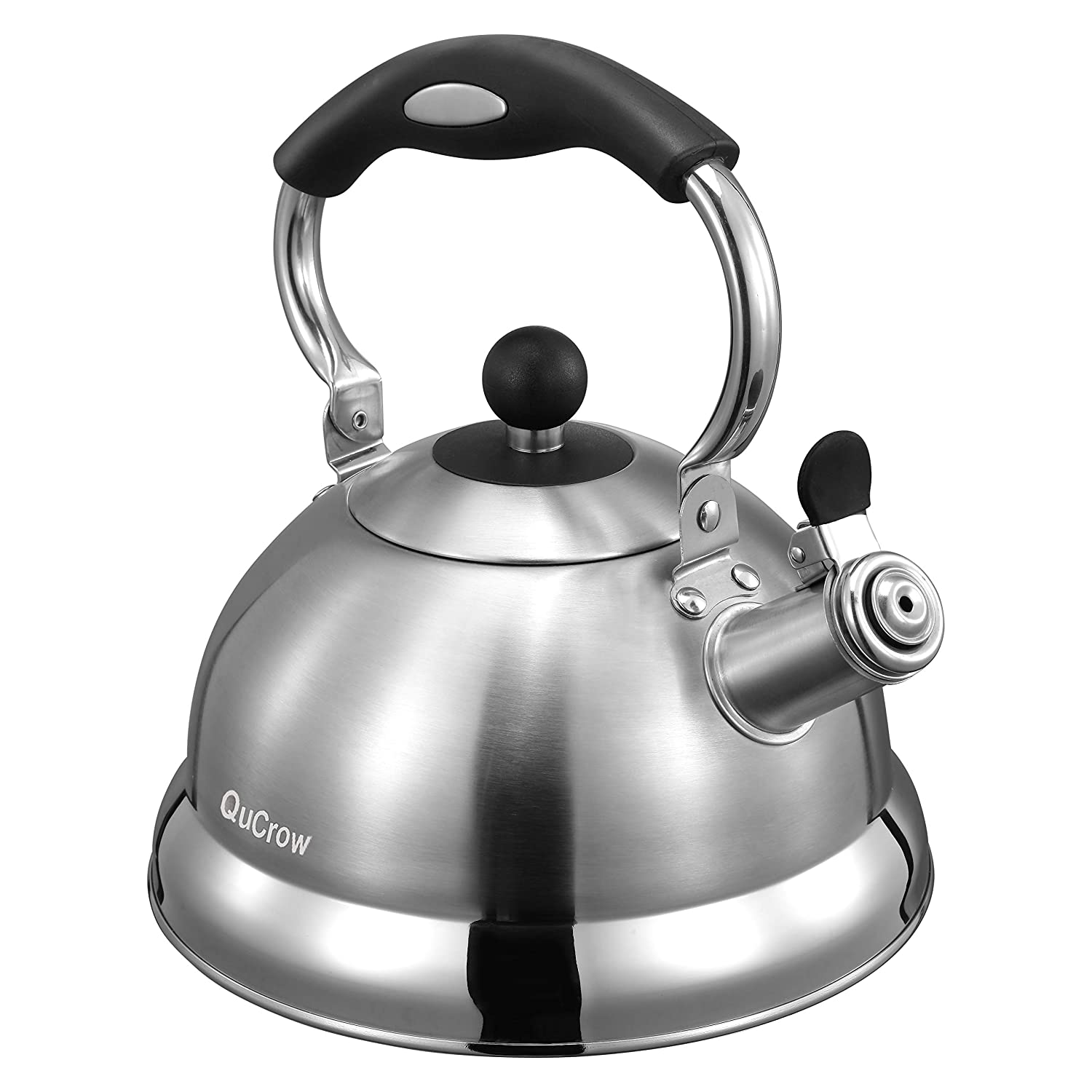 New Version QuCrow 18/10 Whistling Tea Kettle Stovetop, Stainless Steel Tea Kettles with Heat Proof Handle, Tea Pot, 3 Quart, Silver