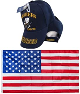 U.S. Navy USN Seabees Can Do Sea Bees Navy Blue Embroidered Hat Cap & USA Flag