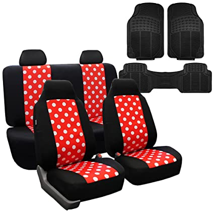 FH GROUP FB115114 Full Set Polka Dots Red Black Color Car Seat Covers With