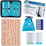 Alcedo Suture Practice Kit for Medical Students | Complete Kit (32 Pieces) Include Durable Large Suturing Pad with Pre-Cut Wounds, Tools Kit, and Suture Threads | Perfect for Practice, Demonstration