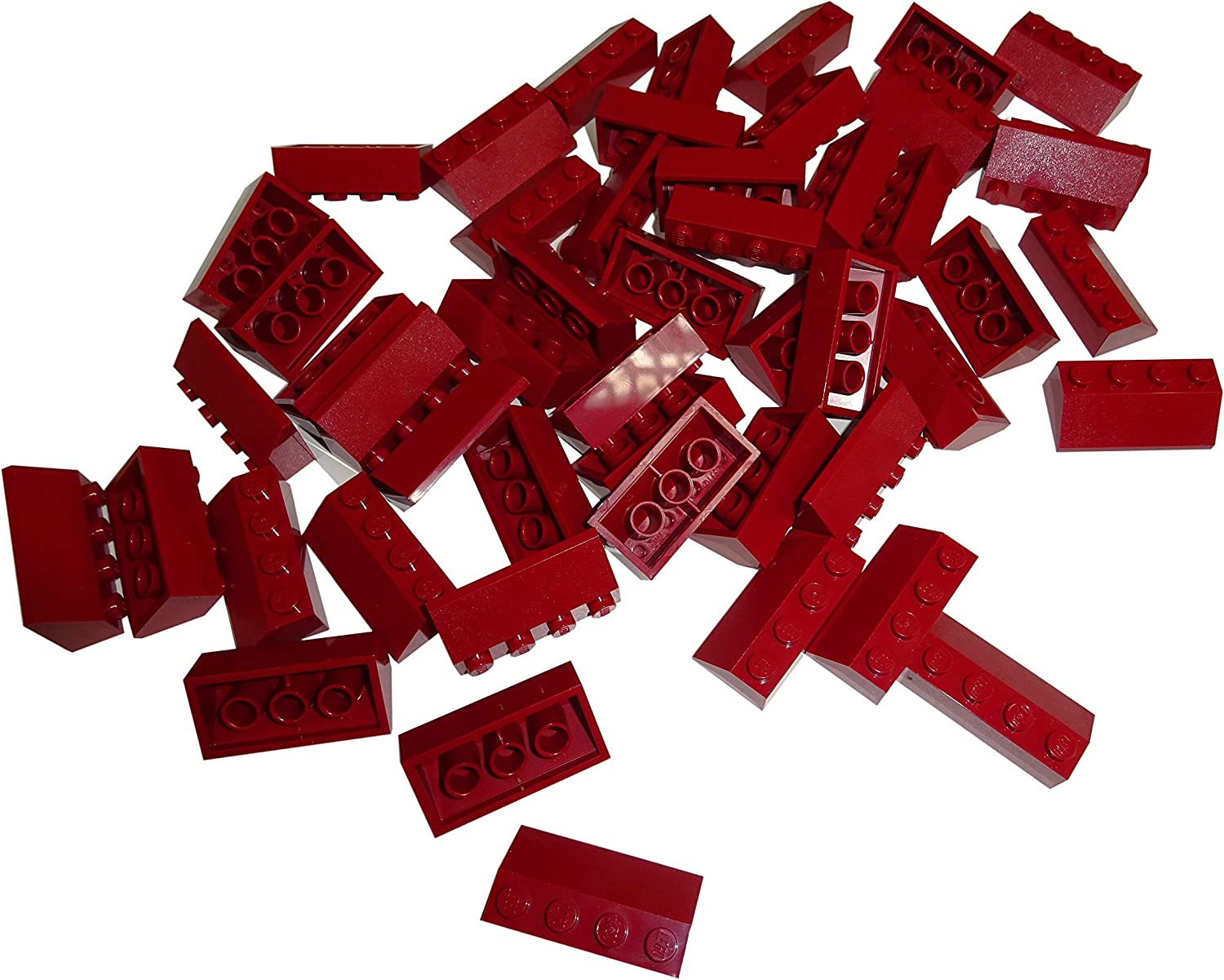 LEGO Parts and Pieces: Dark Red 2x4 45 Slope x50