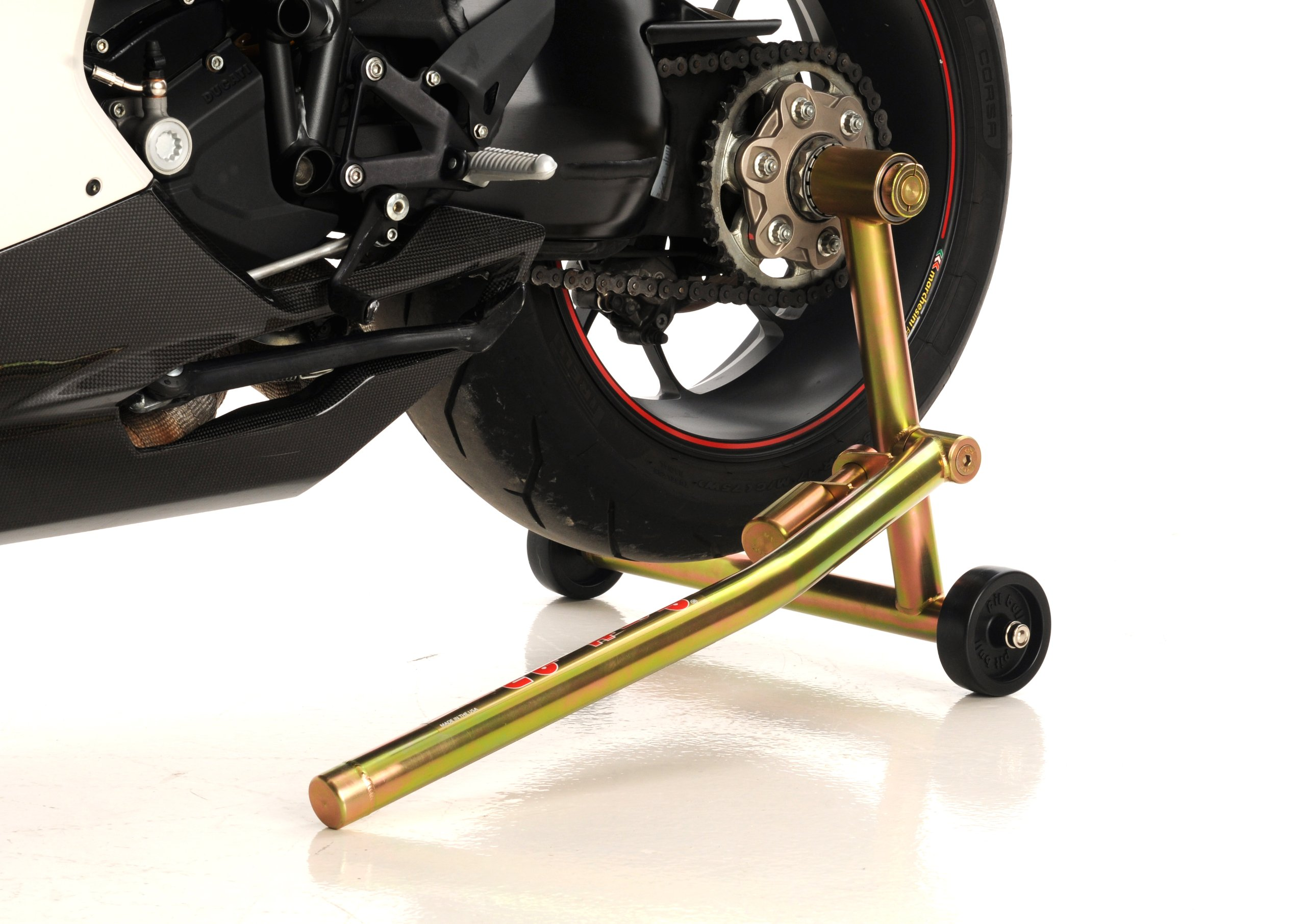 Pit Bull Hybrid One Armed Rear Stand, Ducati Small Hub (w/ pins for both sides of bike) for 848, 916, 996, 998, Hypermotard, Hyperstrada, Monster 796, Monster 1100, S4RS