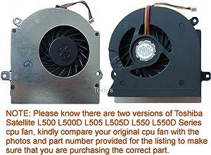Todiys CPU Cooling Fan for Toshiba Satellite L500 L500D L505 L505D L550 L550D Series L500-017 L500-ST5505 L500D-11P L505-11D L505-S6953 L505D-LS5002 L550-00Q L550D-136 V000170240
