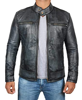 bbde2c342c7 Real Lambskin Men Leather Jacket - Distressed Leather Jackets for Men at  Amazon Men s Clothing store