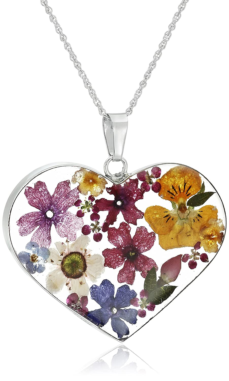 Kết quả hình ảnh cho Sterling Silver Multicolored Pressed-Flower Heart Pendant Necklace