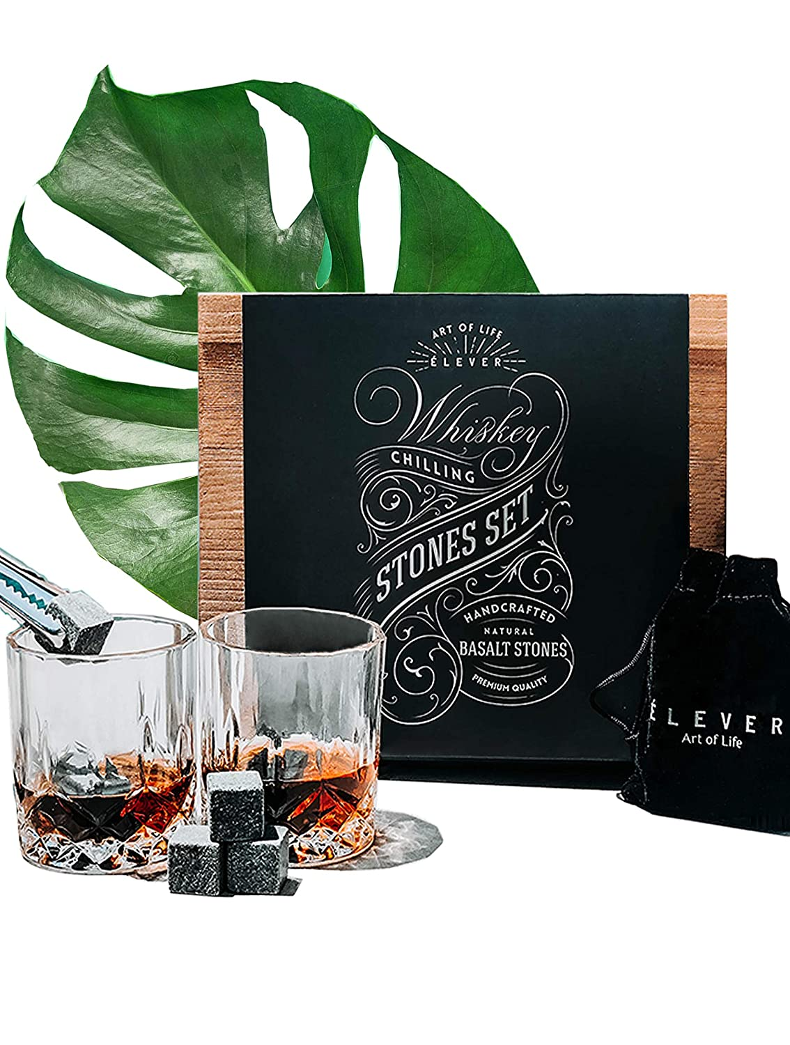 be2a67b4e55a Whiskey Stones and Whiskey Glass Bar Accessories Gift Set - Chilling Rocks
