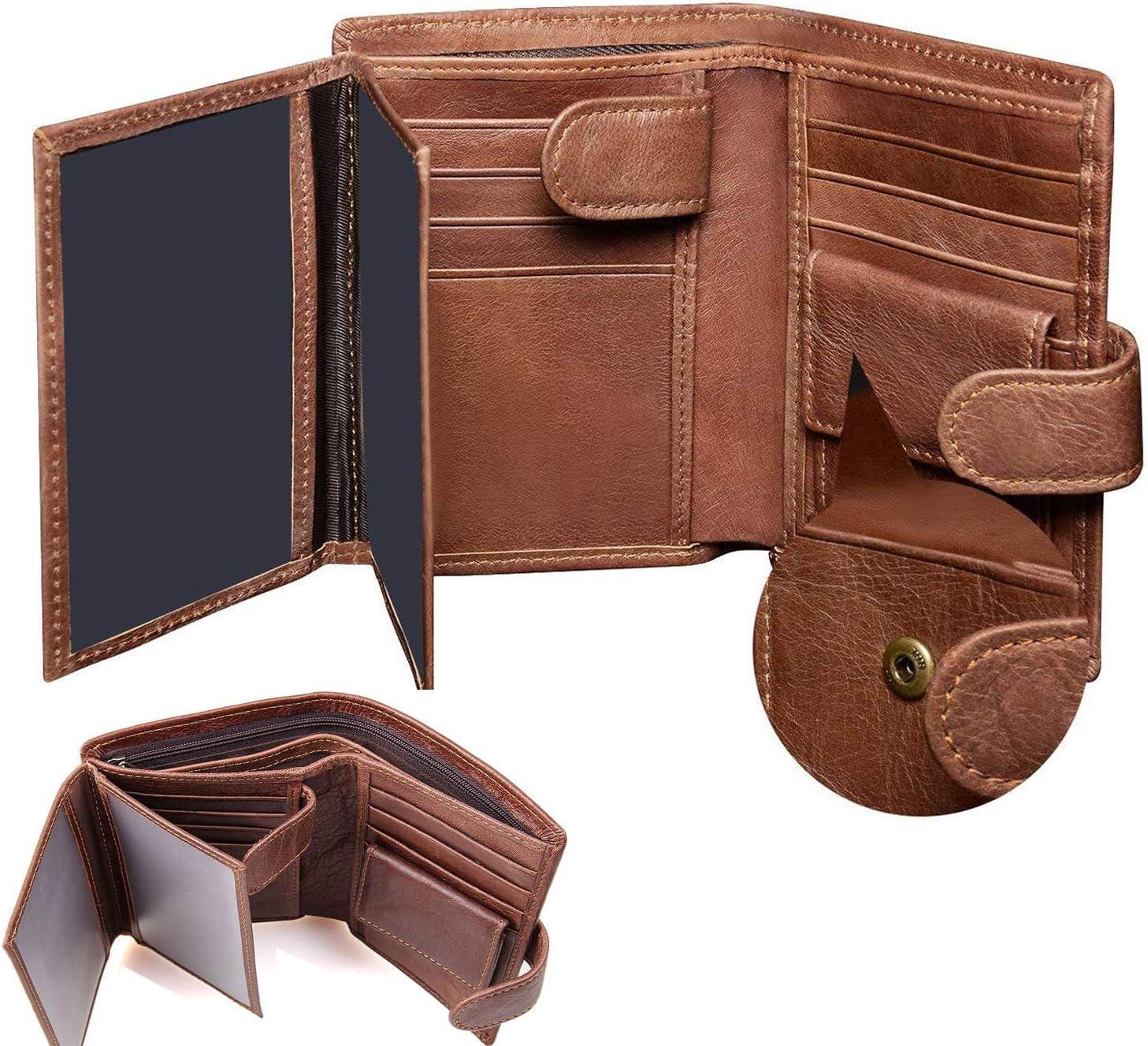 Billetera de cuero para hombre, billetera de cuero genuino, billetera de triple pliegue RFID para hombres, billetera Corspake con caja de regalo, 11 ranuras para tarjetas de crédito, 3 ventanas con id