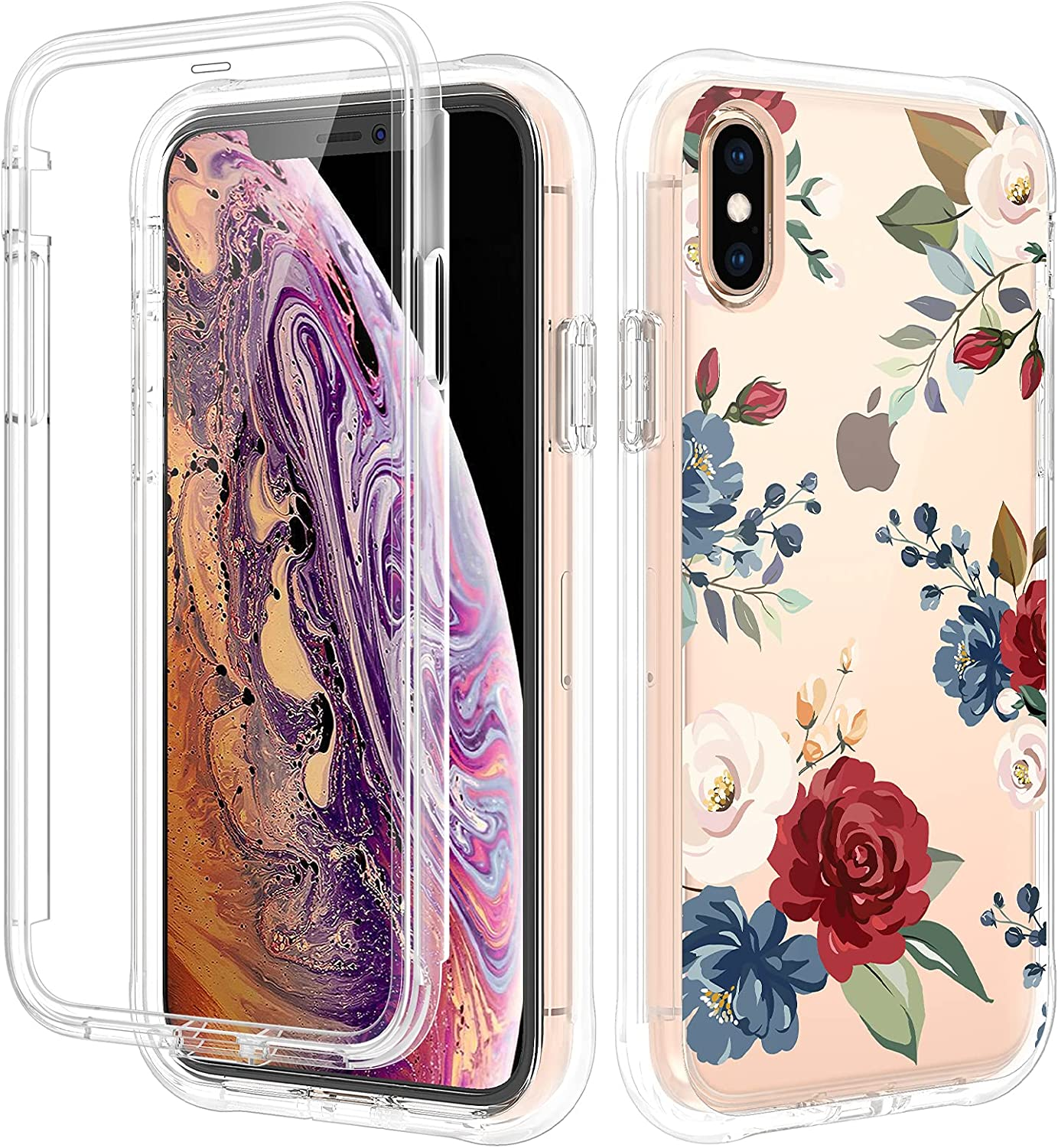 Caka Case for iPhone X, iPhone Xs Case with Screen Protector for Women Girls Full Body Protective Case Clear with Design Floral Flower Shockproof Case for iPhone X Xs 5.8 inches (Rose)