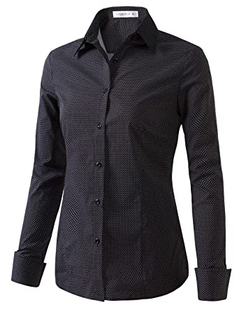 c021d645fd CLOVERY Women s Formal Work Wear Simple Button Down Shirt with Plus Size  DOTBLACKWHITE XS