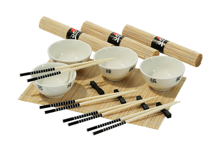 Premier Housewares Set per cucina cinese, 16 pezzi, 4 ciotole bianche, 4 paia di bacchette, 4 poggia bacchette e 4 tovagliette 1104286 1104286_White