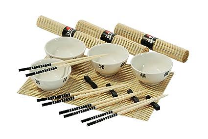 Premier Housewares 16 Piece Chinese Dining Set, 4 White Bowls/ 4 Chopsticks/
