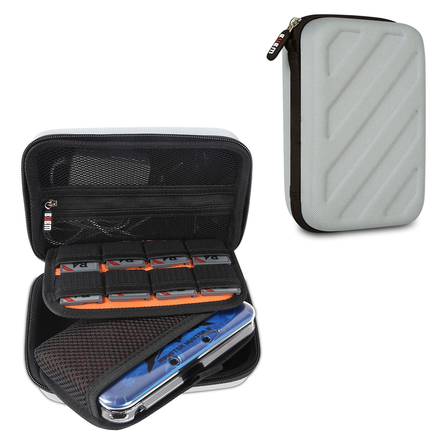BUBM New 3DS/3DS XL/3DS LL Travel Game Case -Travel Carrying Case for New Nintendo DS Gaming Console -Hard EVA Nintendo 3ds pouch With 8 Game cartridges Holders-Grey