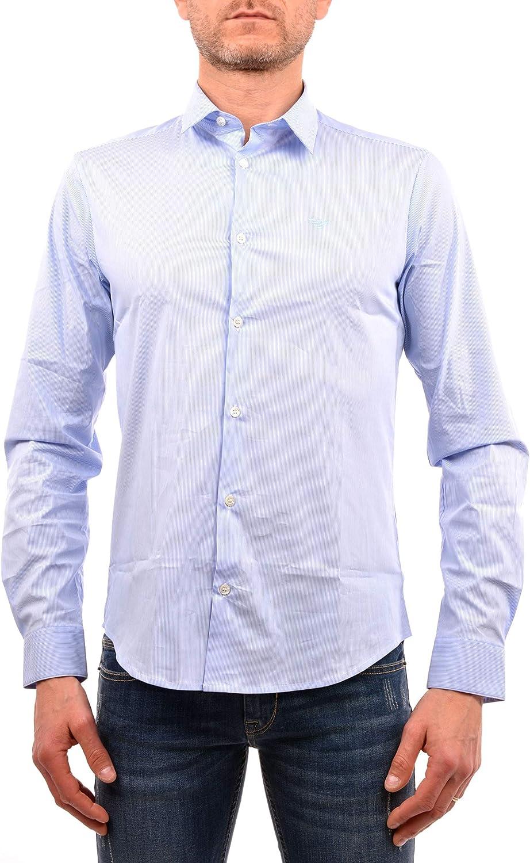 Armani Hombres Camisa de popelín de algodón del Estiramiento L Raya Azul: Amazon.es: Ropa y accesorios