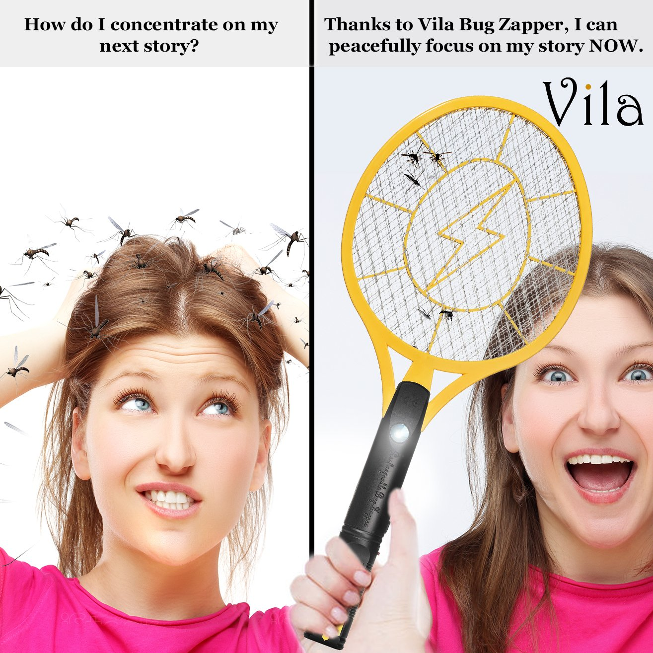 Vila Rechargeable Electric Bug, Insect Zapper - Instant Fly & Mosquito Swatter - Super-Bright In-built LED Light to kill mosquitoes in dark - 3-Layer safety wasp, safe to touch