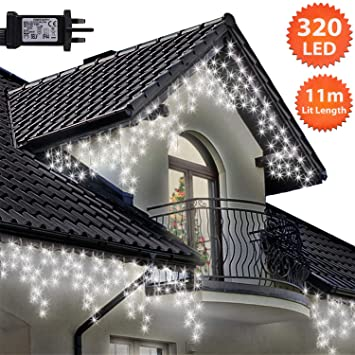 Icicle Lights 320 Led 11m Bright Cool White Outdoor Christmas Lights Indoor String Fairy Lights Timer Memory Mains Powered 36ft Lit Length 10m 32ft