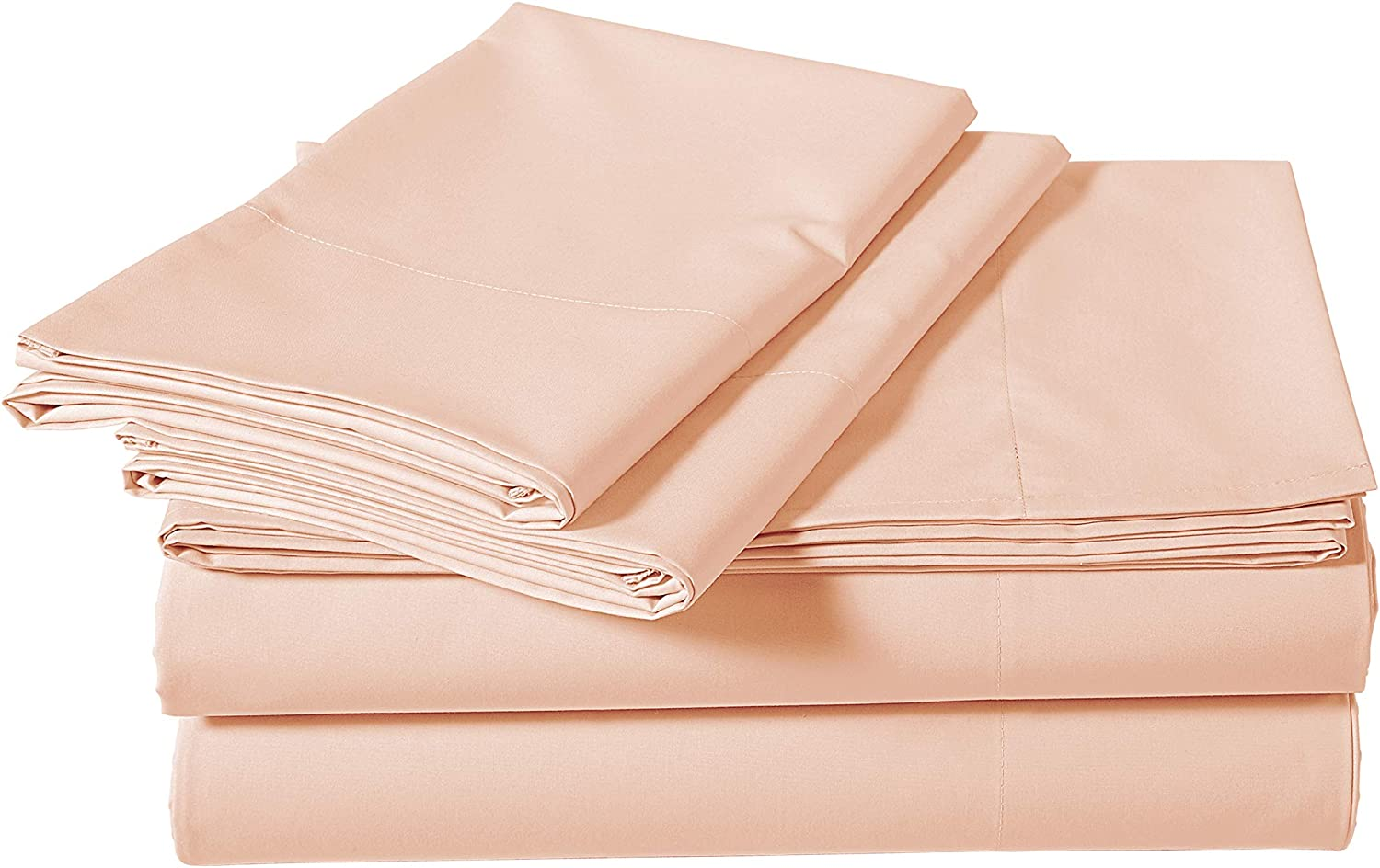 AmazonBasics Super-Soft Sateen 400 Thread Count Cotton Sheet Set - King, Pink Pastel