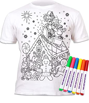 Splat Planet Colour-in FarmT-Shirt with 6 Non-Toxic Washable Magic Pens Colour-in and Wash Out T-Shirt