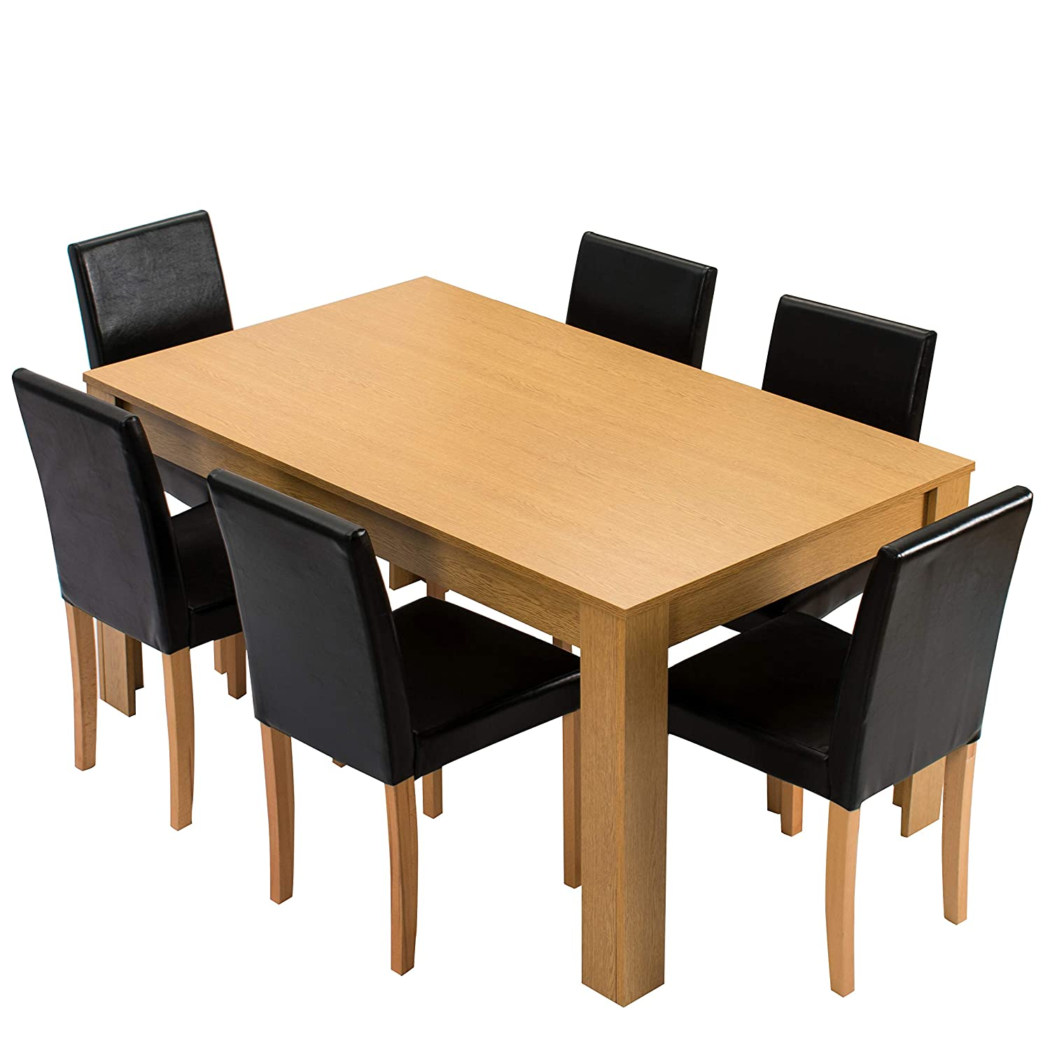 Cherry Tree Furniture 7-Piece Dining Room Set 6-Seater 150 X 90 CM Dining Table with 6 Chairs, Oak Colour Table with Black PU Leather Seats