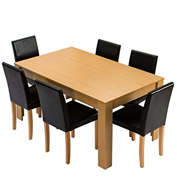 Cherry Tree Furniture 7 Piece Dining Room Set 6 Seater 150 X 90 CM