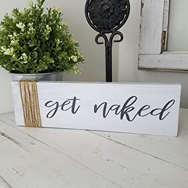 Get Naked Bathroom Decor Wood Distressed Farmhouse Signs