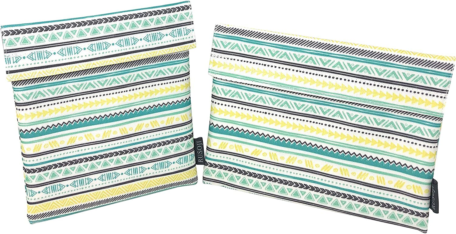 Rusoji 2pc Reusable Snack Bags insulated Sandwich Wrap for Work, School Lunch, Picnic, Boys and Girls (Tribal pattern)