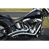 ACCESSORIESHD - LSD Big Radius Style STEALTH Exhaust Drag Pipes For Harley Softail W/ Heat Shield