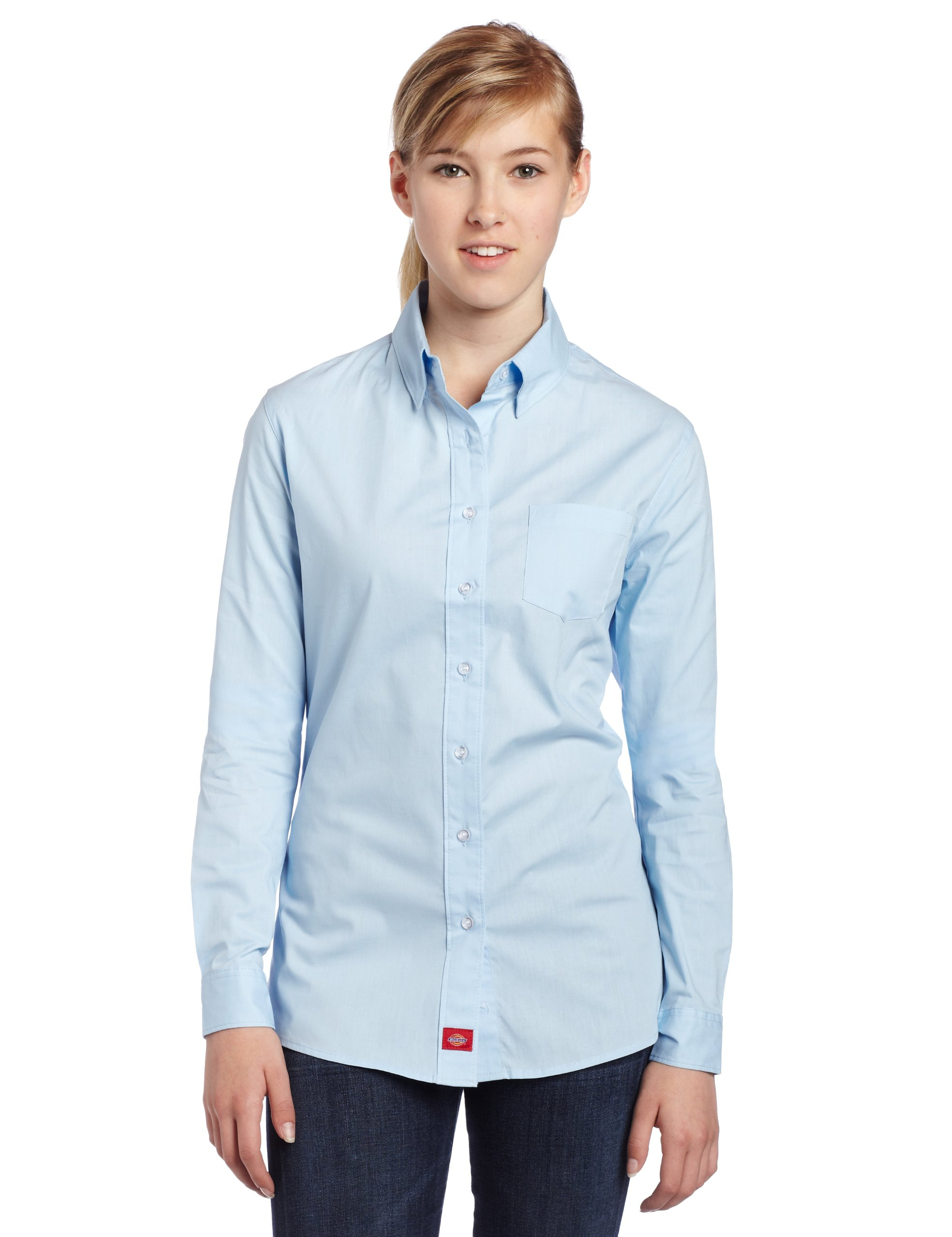 Dickies Girl Juniors Long Sleeve Button Front Poplin Shirt,Baby Blue,Xlarge